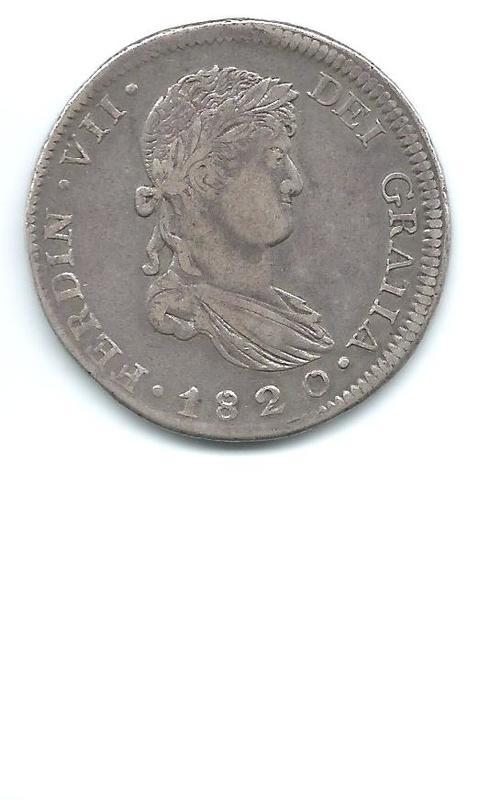 8 reales de Fernando VII 1820 Zacatecas Image