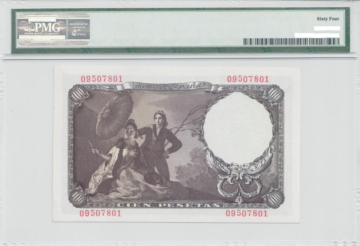 Colección de billetes españoles, sin serie o serie A de Sefcor Goyareverso