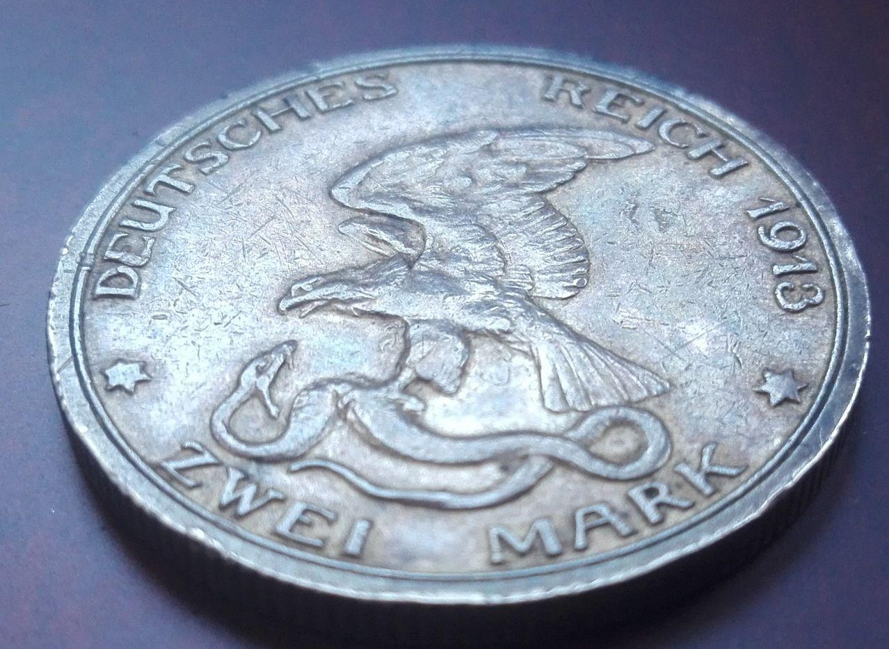 2 marcos 1913, Guillermo II. Prusia. Alemania 3_marcos_1913_anv2