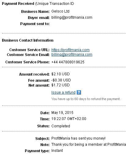 1º Pago de Profitmania ( $2,10 ) Profitmaniapayment