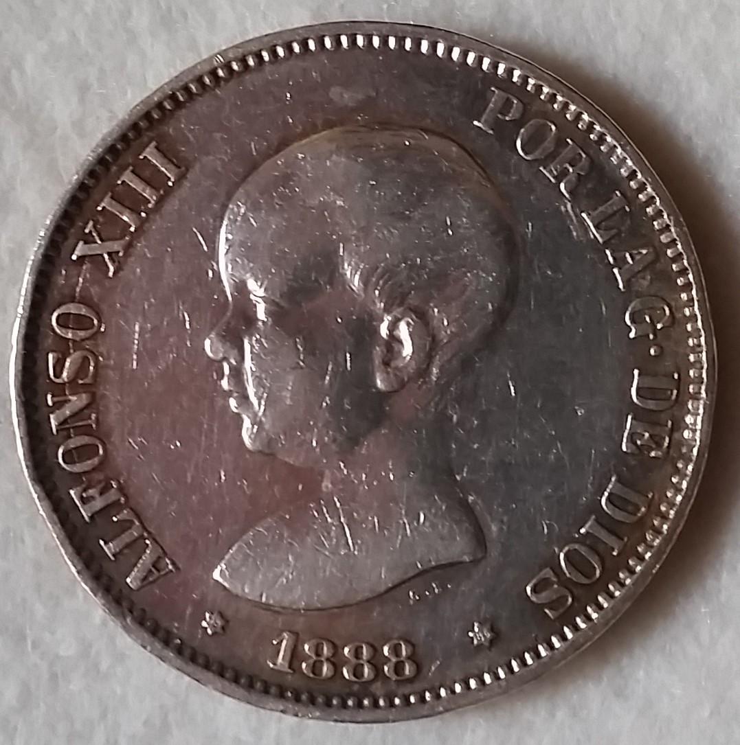 Alfonso XIII 5 Pesetas 1888 (18*88*) Pátina 20160330_192837