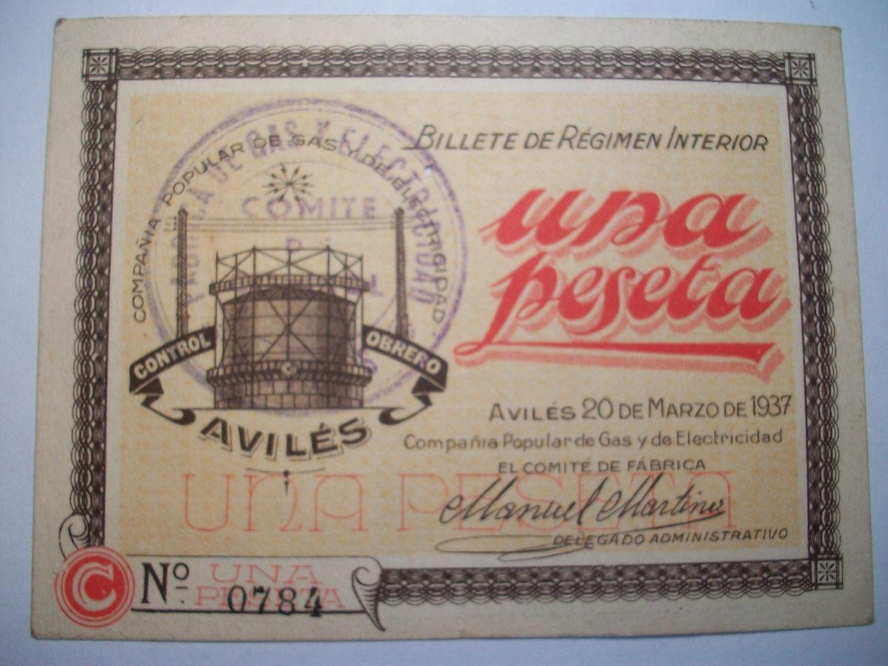 1 Pta. Compañía popular de gas y de electricidad. Avilés. 20 Marzo 1937 100_2035