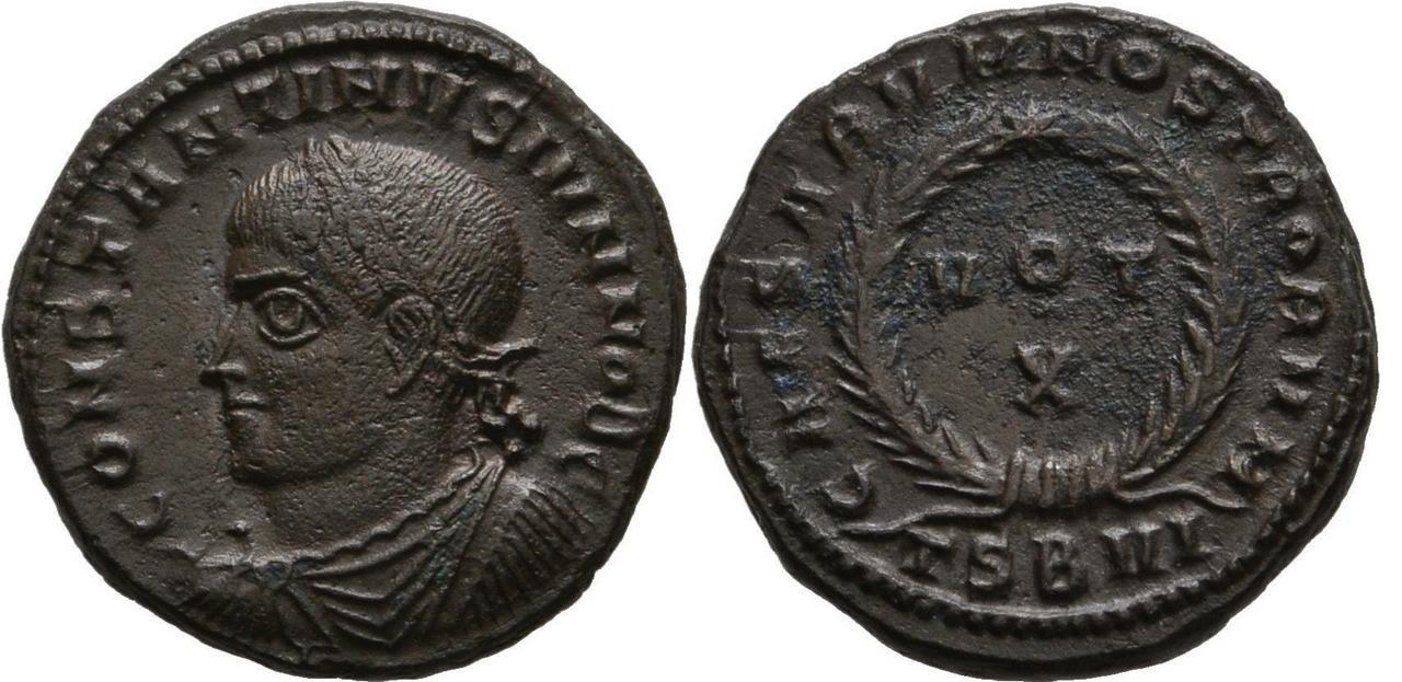 AE3 de Constantino II. CAESARVM NOSTRORVM / VOT X. Tesalónica Constantino_ii_tsbvi