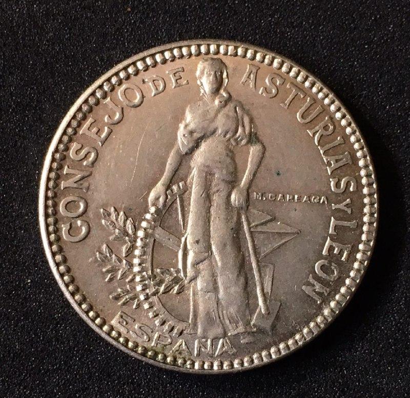 2 pesetas 1937. Consejo de Asturia y León. Guerra Civil IMG_20170419_211026