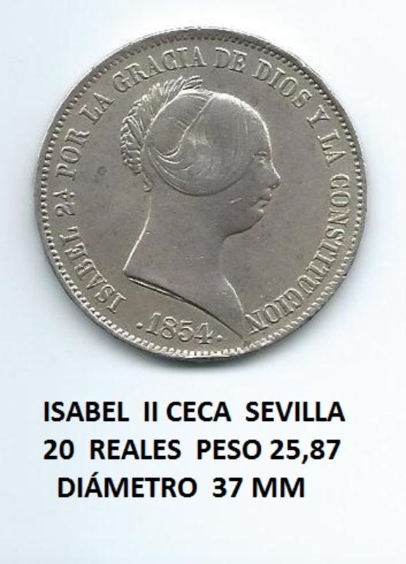 20 reales de Isabel II año 1854 Image