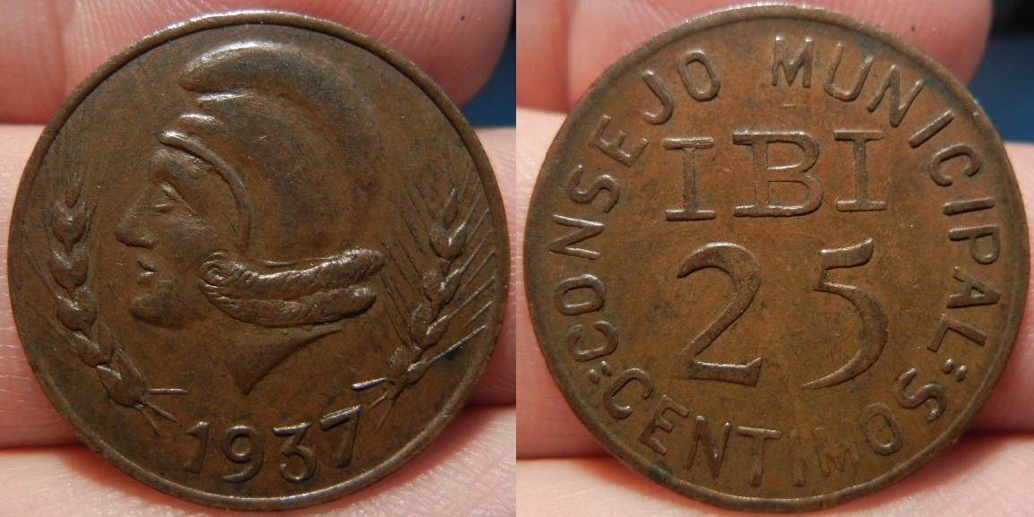 25 Céntimos 1937.Consejo Municipal de Ibi (Alicante). Guerra Civil 5675688888888888