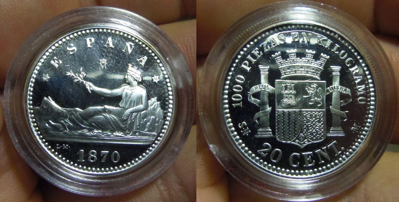 20 Céntimos del Gobierno Provisional del 1870. Acuñación moderna de la FNMT. Ayuda para obtener ciertos datos. IMGP7108