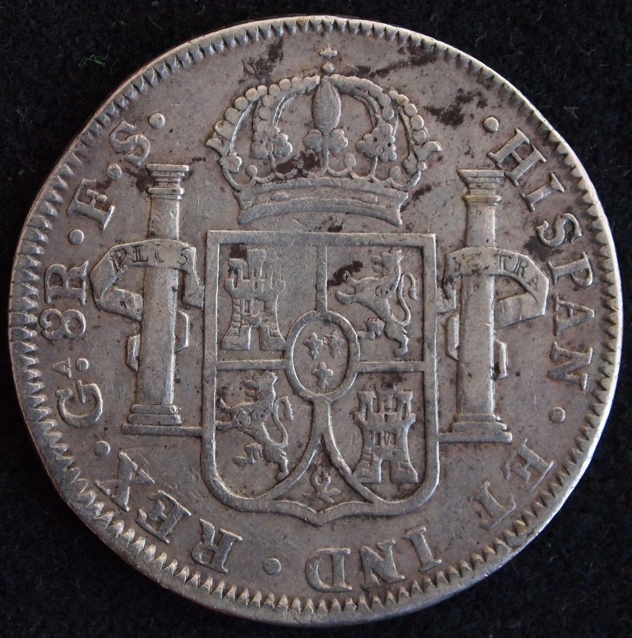 8 reales Fernando VII 1821 Guadalajara 2