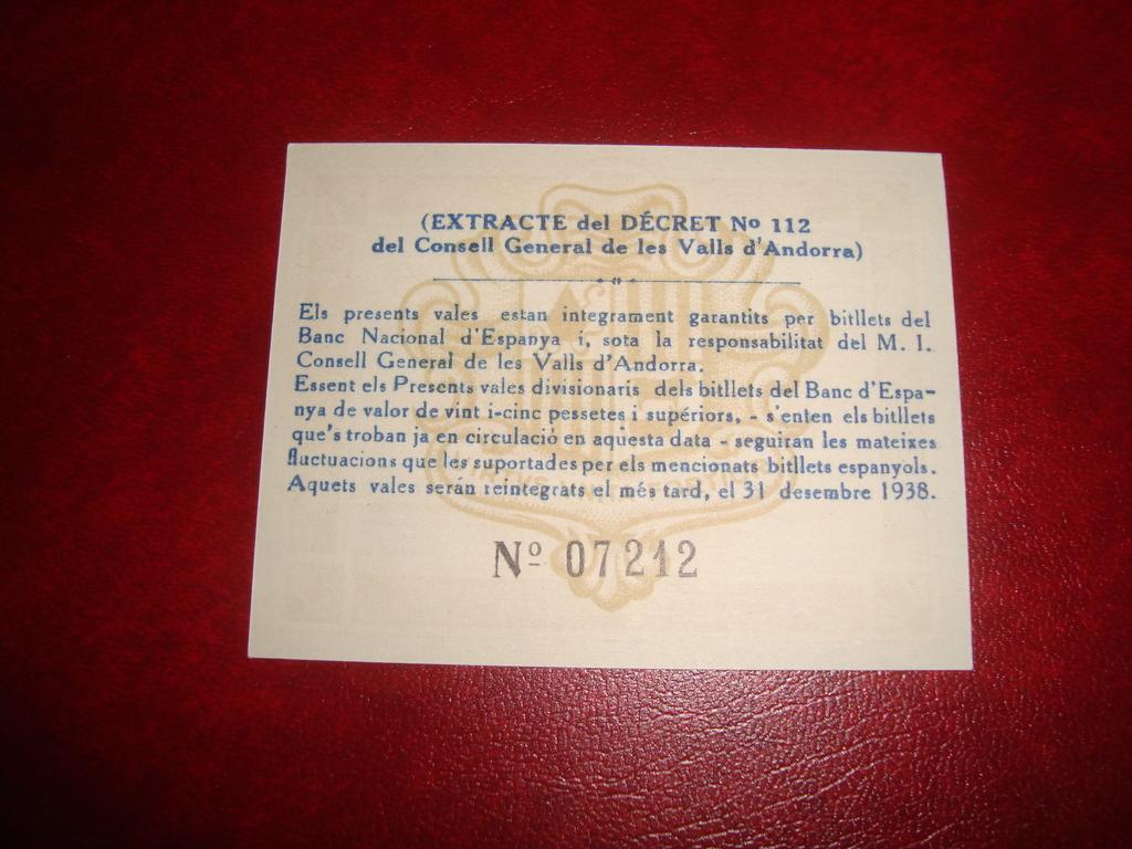 50 Céntimos Andorra, 1936 Andorra_Reverso