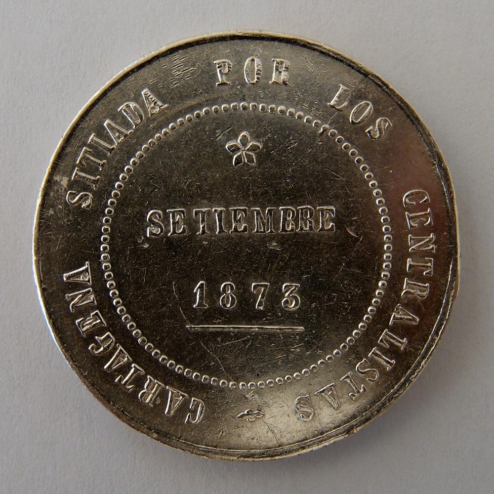 5 pesetas 1873 - Cartagena - Primera República (Revolución Cantonal) - 222a