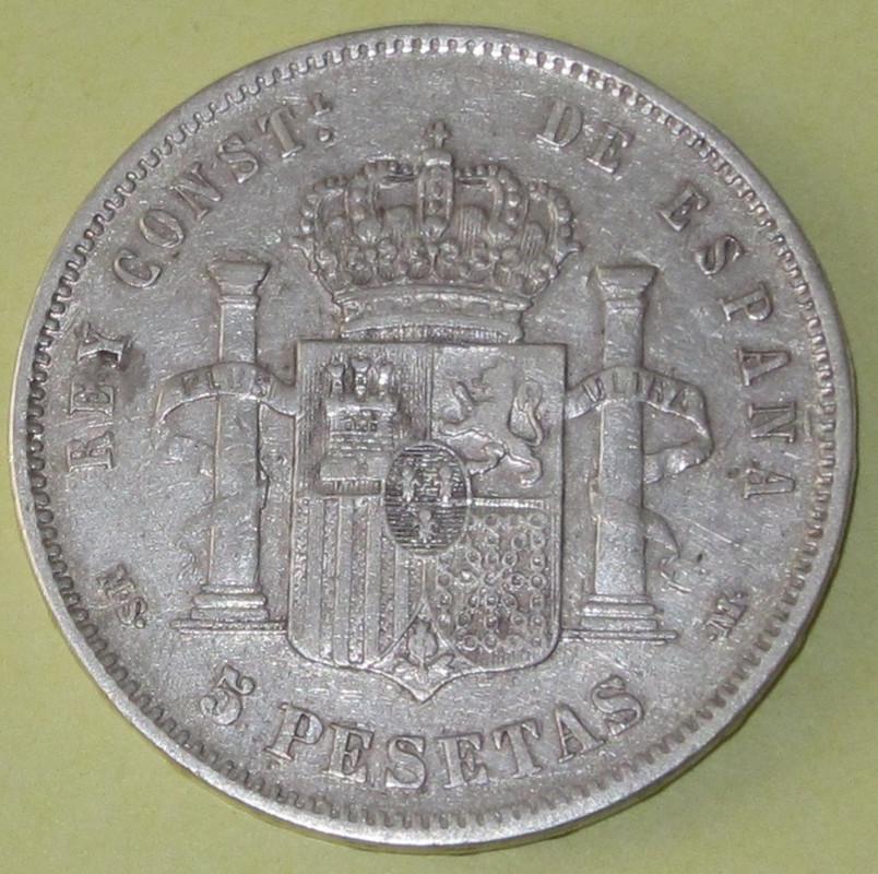 Duros de Plata de Alfonso XII 1885b