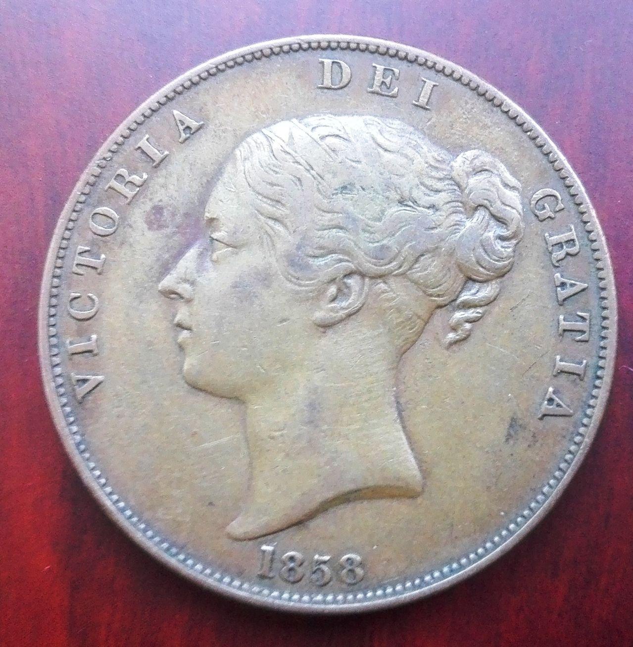 1 penique 1858, Gran Bretaña. Reina Victoria 1_penique_1858_anv