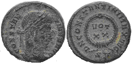 AE3 de Constantino I. D N CONSTANTINI MAX AVG - VOT / XX. Ceca Ticinium. Constantino_I
