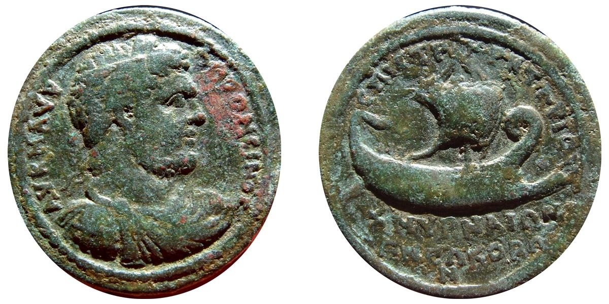 Rarísimo medallon de Caracalla. Galera. Iona. Smyrna 650