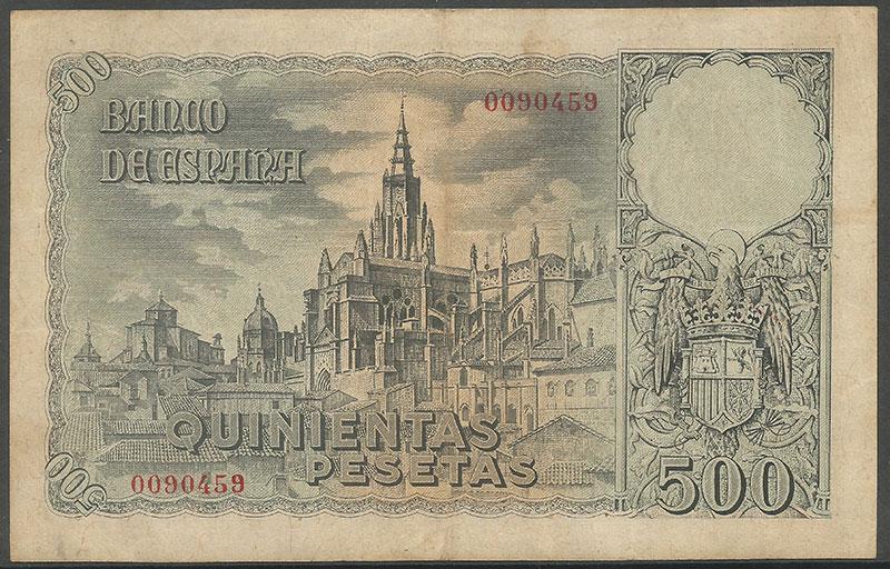 500 Pesetas 1940 (Entierro Conde De Orgaz) Reverso_500_Pts_Octubre_1940