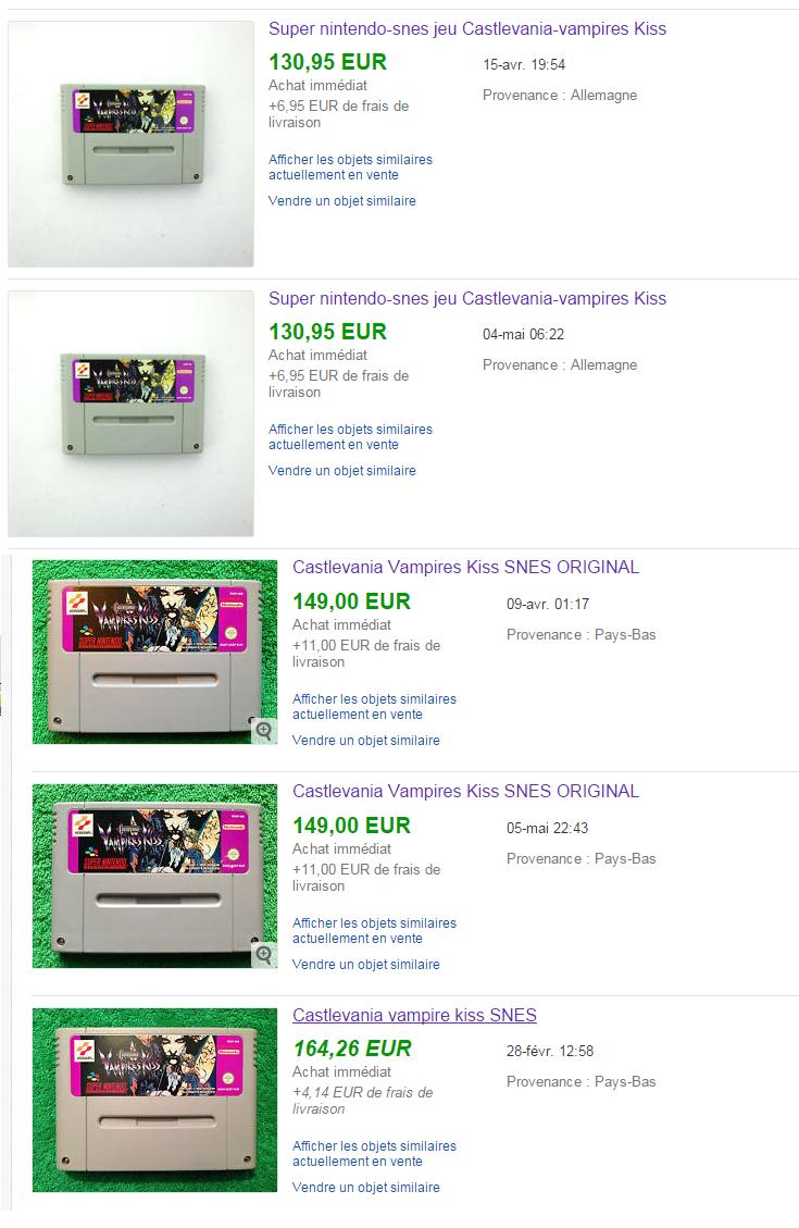 Plusieurs même jeux vendu plusieurs fois sur Ebay. Enchères truquées ? Castlevania