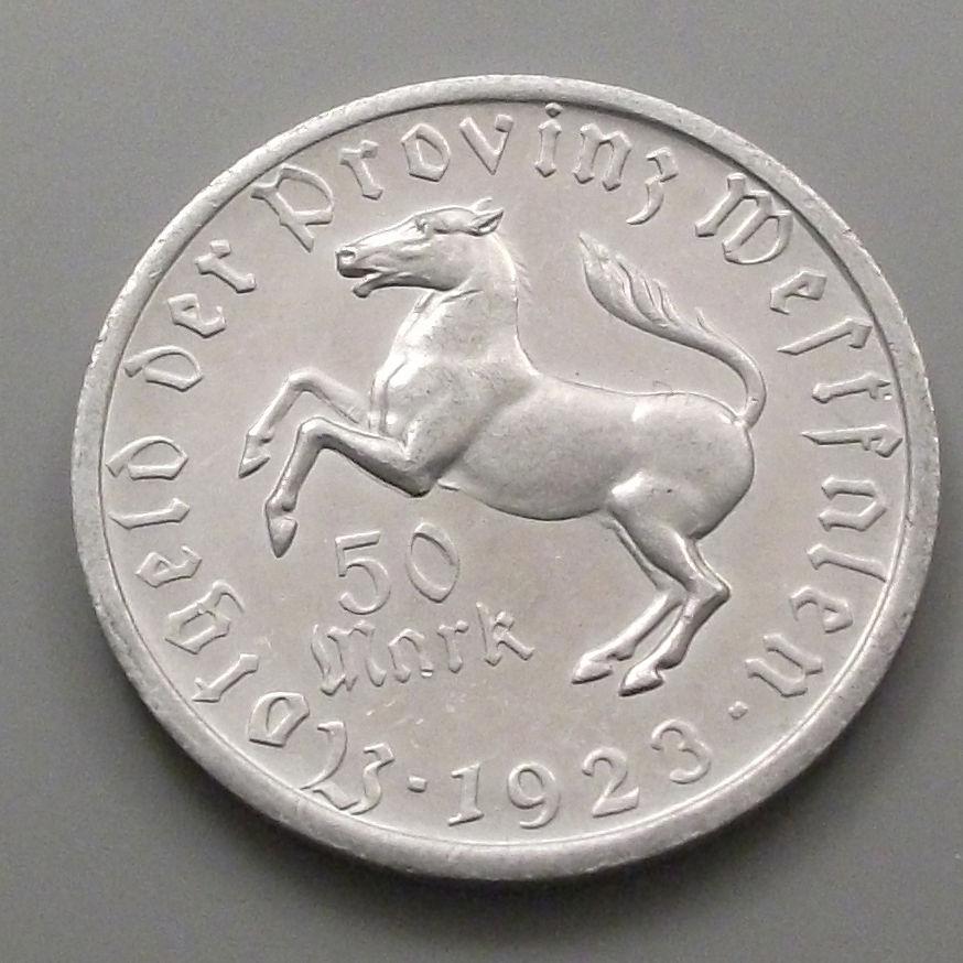 Monedas de emergencia emitidas por el banco regional de Westphalia 1923_50b