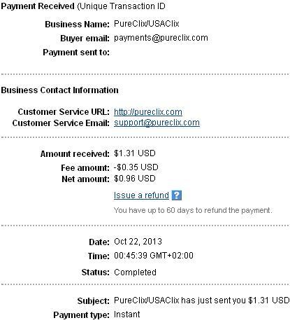 1º Pago de USAClix ( $1,31 ) Usaclixpayment