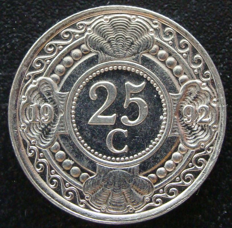 25 Centavos Florín. Antillas Holandesas (1992) AHO._25_Centavos_Flor_n_1992_-_rev