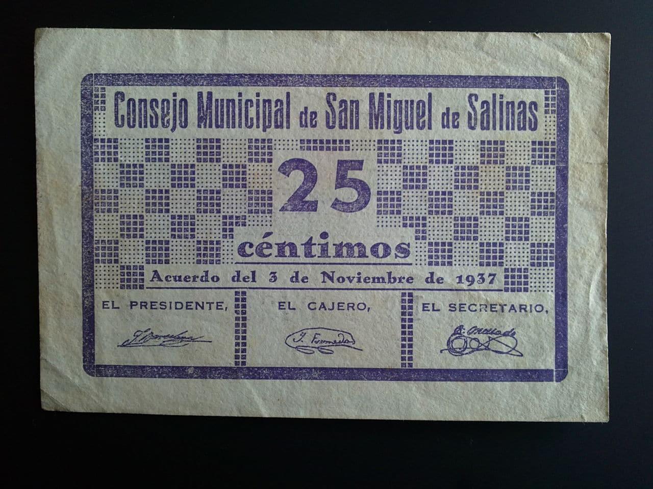 25 Céntimos San Miguel de Salinas (Alicante) 1937 08022013031