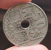 Mancha verde moneda 50 centimos España 1949 IMG_3776