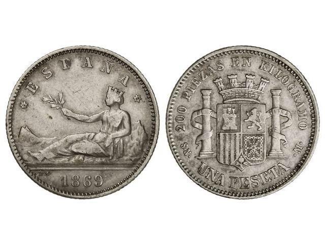 1 peseta  G.P. 1869 SN M Image