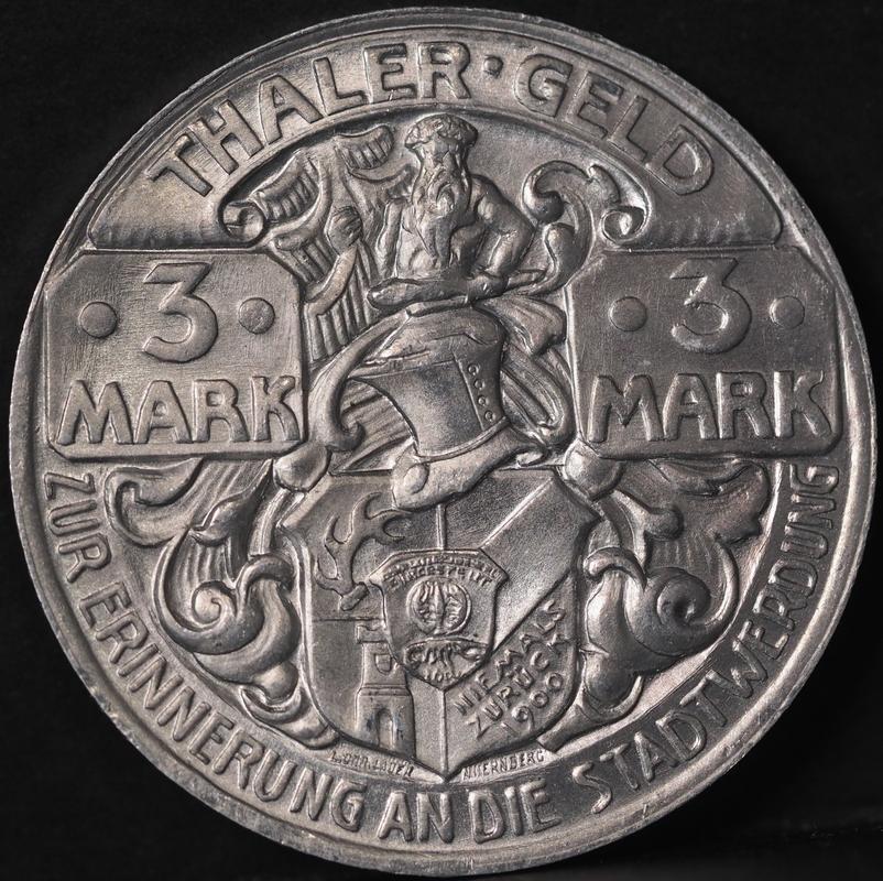 Thaler geld (3 mark),moneda de emergencia alemana,1921. PB300401