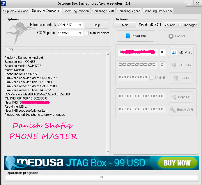 Successfully Flashed With Octopus Box I727_IMEI_Repair