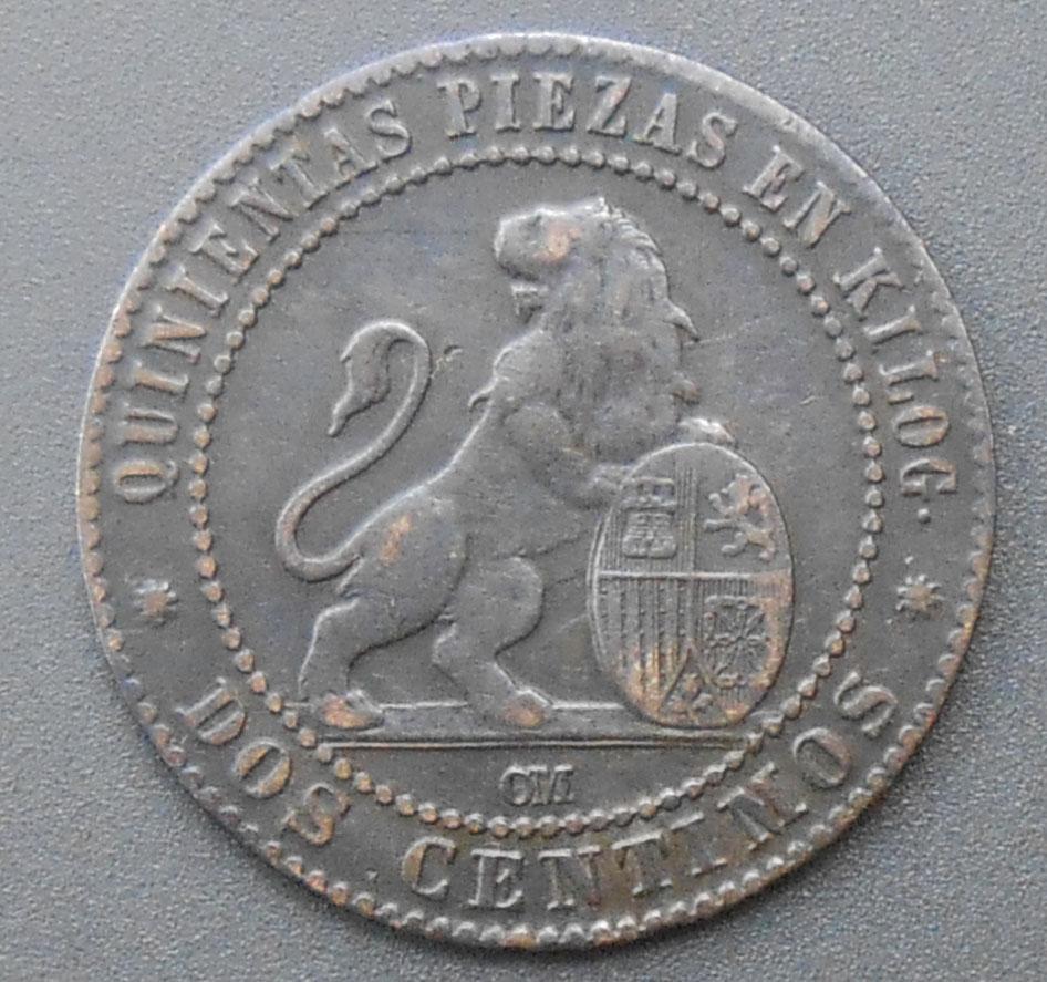 2 céntimos 1870. Gobierno Provisional. DSCN1392