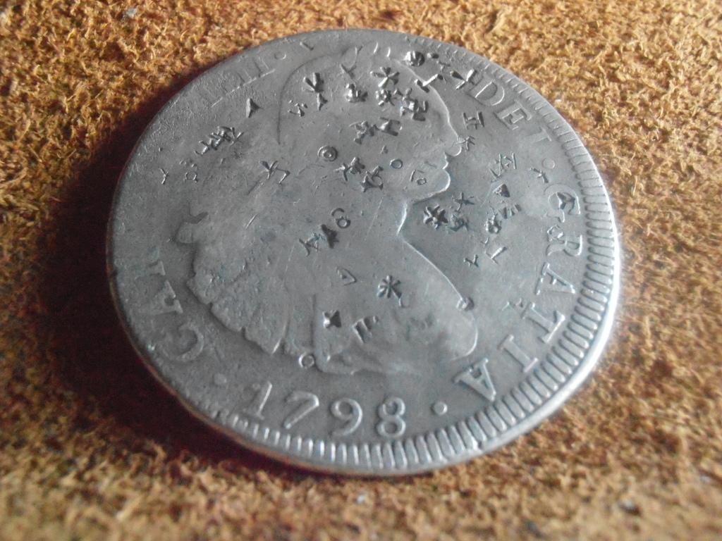 8 reales 1808. Carlos IV. México. Resellos chinos Esvas