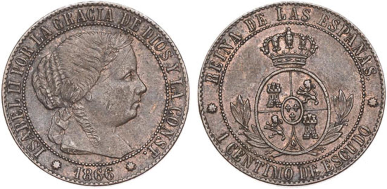 1 Céntimo de Escudo 1866 sin OM. Isabel II. Barcelona. PROY_000138_4475
