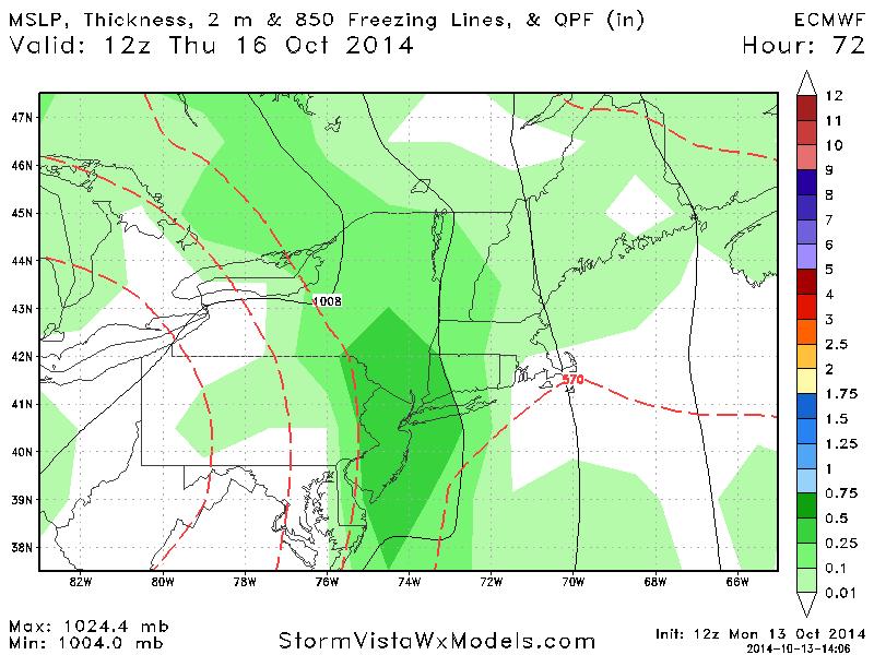 Cut-off Storm 10/15 - 10/16 ECMWF_MSLPThick_QPF_ne_f72
