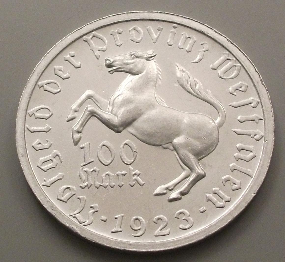 Monedas de emergencia emitidas por el banco regional de Westphalia 1923_100d