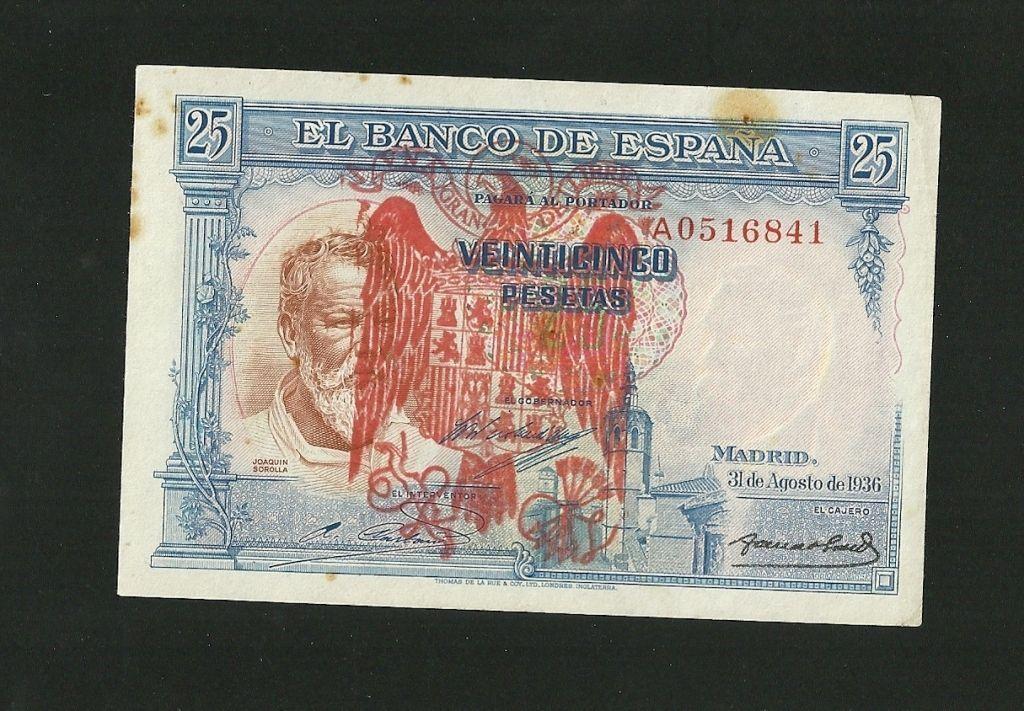 100 Pesetas 1931, verde (Color manipulado) Sorolla_sello