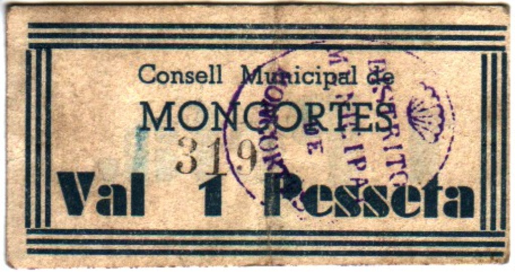 1 Peseta Moncortes (Lleida), 1937 Peta1