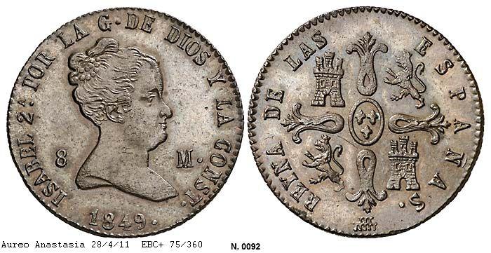 8 maravedis 1849. Isabel II - Segovia. 0092g