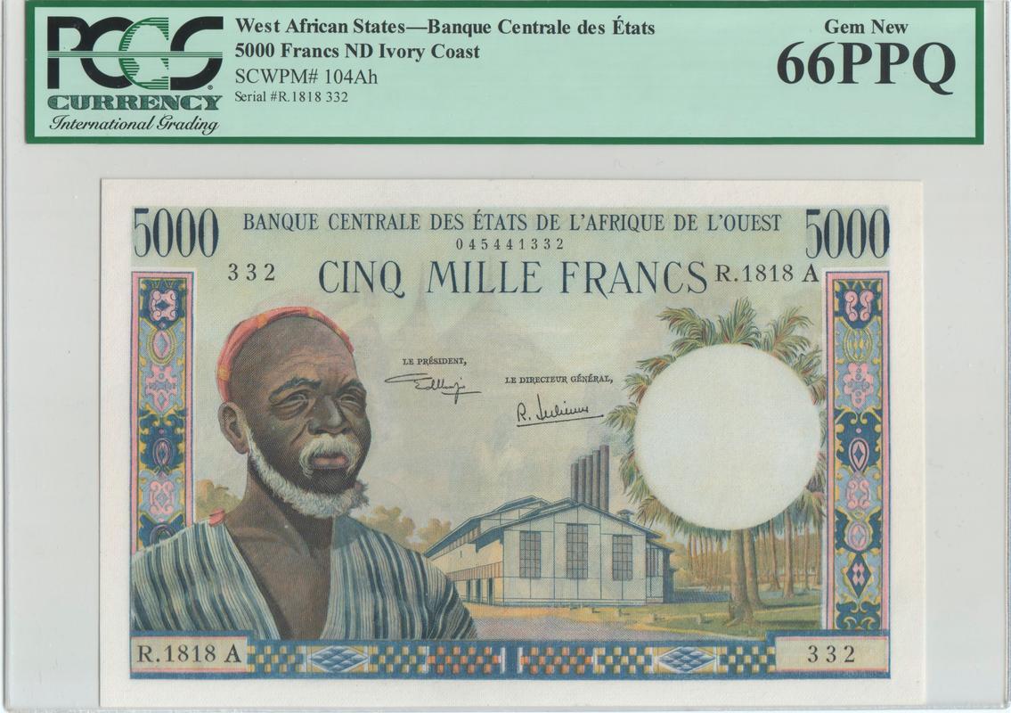 5000 Francos  Costa de Marfil, Estados del África Occidental. Was5000