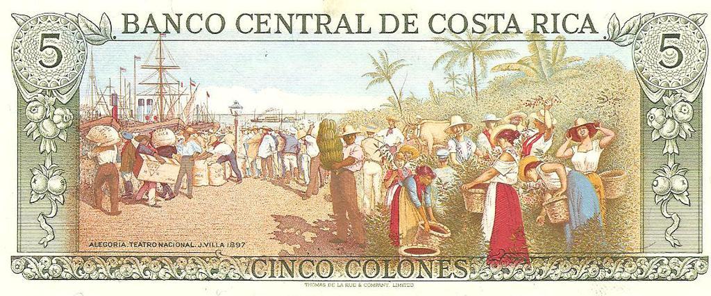 5 colones de Costa Rica año 1992 Image