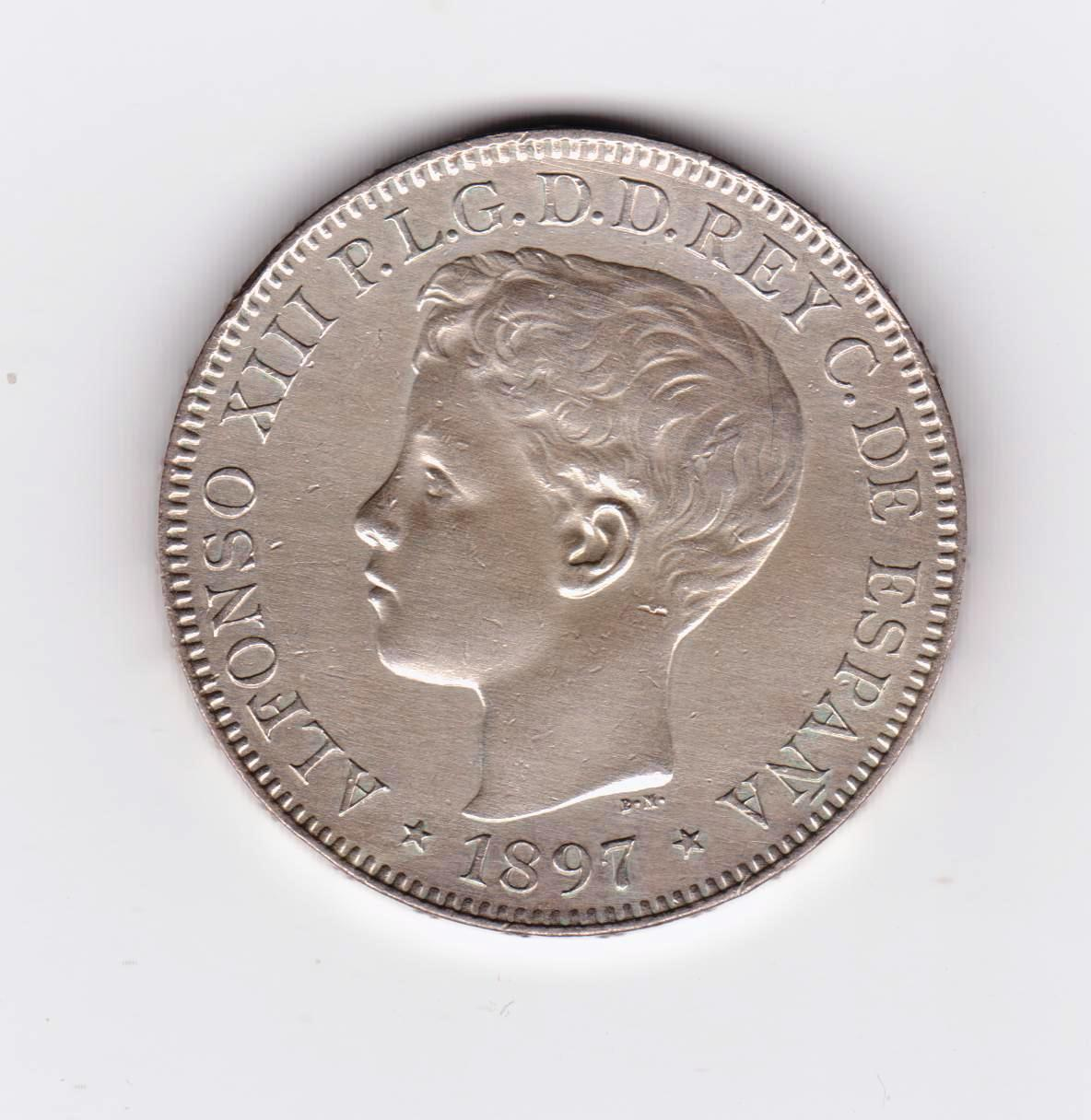 1 peso Filipinas 1897, Alfonso XIII 1_peso_1897