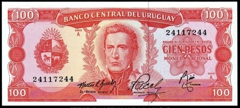 100 Pesos Uruguay, 1967 ? 0001