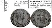 As de Adriano. COS III P P CLEMENTIA AVG - S C. Clementia estante a izq. Roma. Image