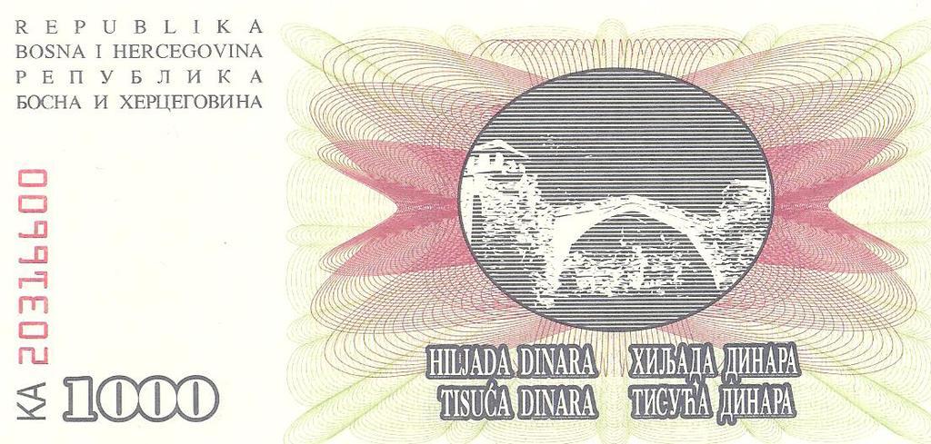 1000 dinares Bosnia año 1992 Image