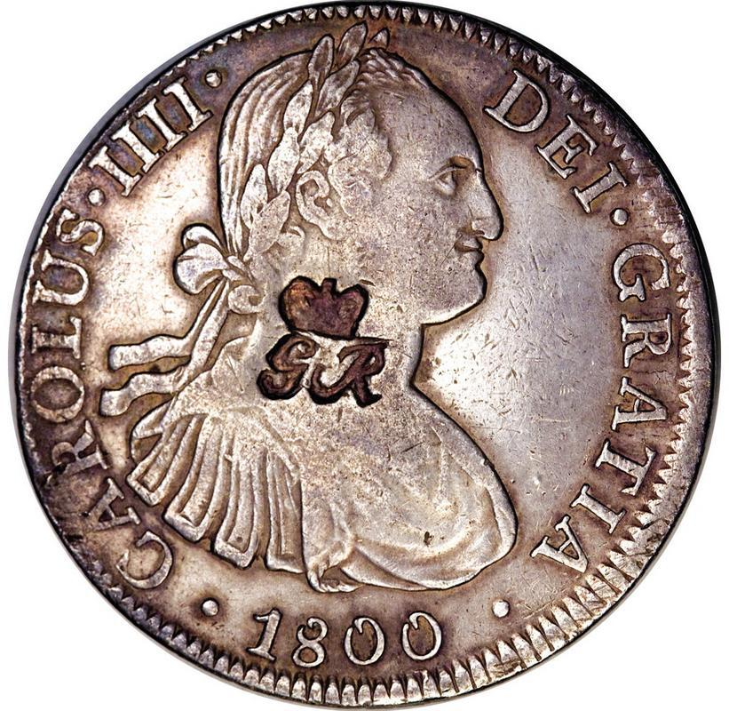 8 reales 1818. Fernando VII. Méjico. Resello GR (Belize) 1800