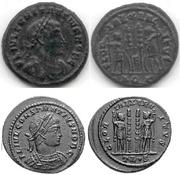 AE4 de Constancio II. GLORIA EXERCITVS. Soldados entre dos estandartes. Aquilea Image