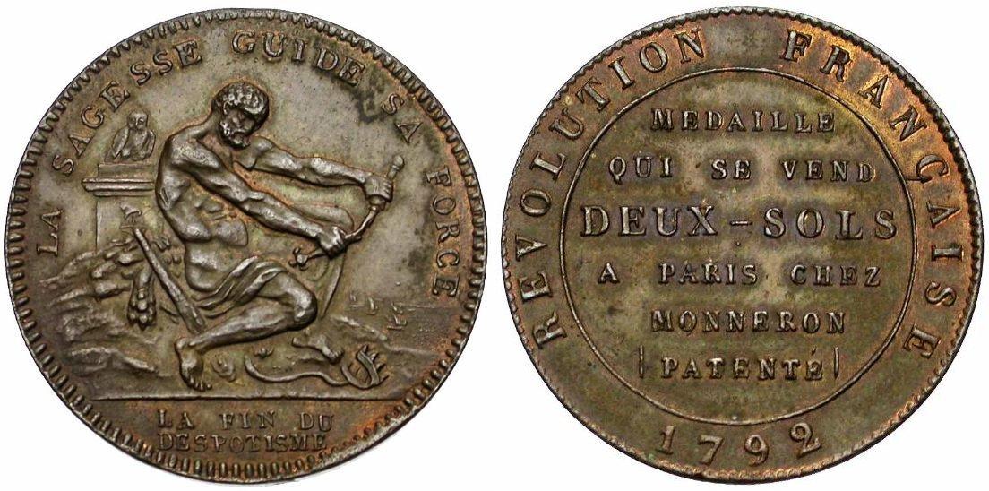 5 Sols Monneron Freres 1793 Francia Monneronhercule