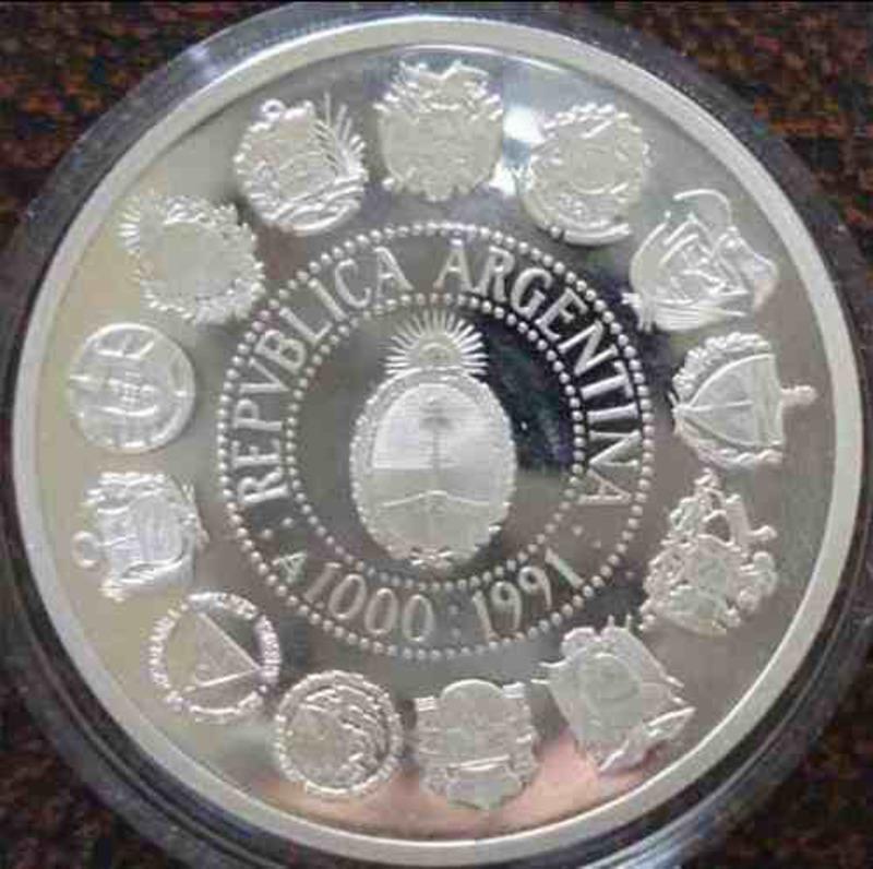 MONEDA ARGENTINA DE PLATA DE 1000 AUSTRALES AÑO 1992 REVERSO_ENCUENTRO_DE_DOS_MUNDOS