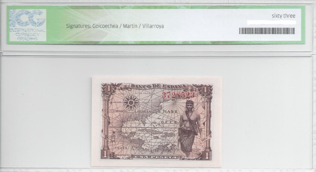 Colección de billetes españoles, sin serie o serie A de Sefcor 45_reverso