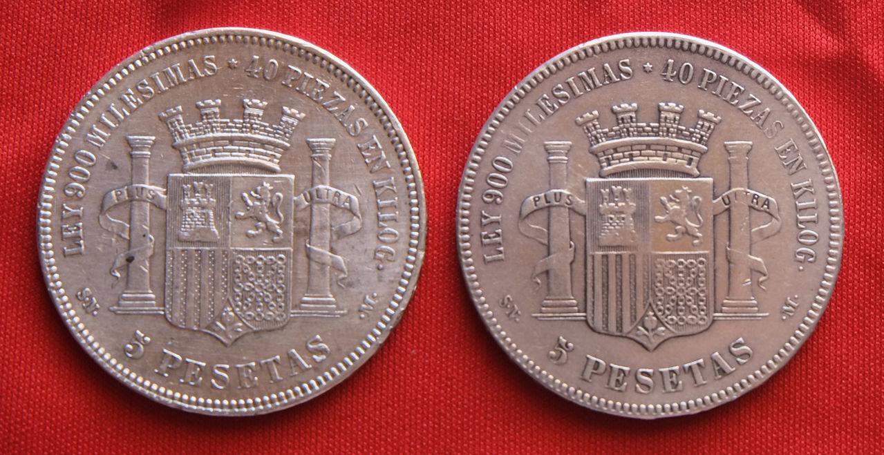 5 pesetas de 1870 Gobierno Provisional 5_1970_cruz_2_monedas