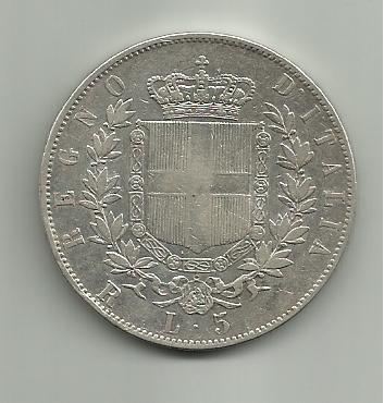 5 Liras  1877 de Vittorio Emanuele II de Italia 5_liras_Victorio_Emanuel_II_1877_rever