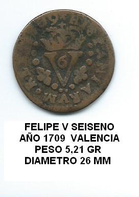 seiseno de Felipe V año 1709 Image